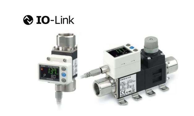 Fluxostato Digital com sensor de temperatura <br> Comunicação IO-Link – Série PF3W7-L